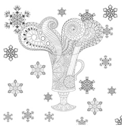 glass of hot mulled wine in zentangle doodle style vector image