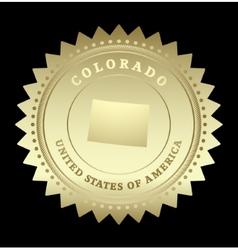 Gold star label colorado vector
