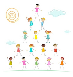 Kid forming pyramid vector