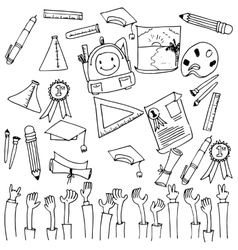 Many tools school education doodle vector image vector image