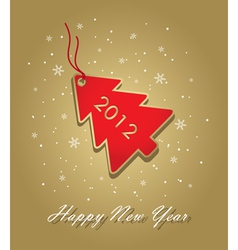 new year 2012 card with red christmas tree label o vector image vector image