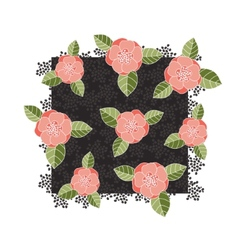 Pink roses on a dark square vector