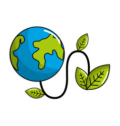 Planet with power cable and leaves vector