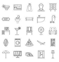 Public house icons set outline style vector