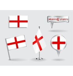 Set of english pin icon and map pointer flags vector