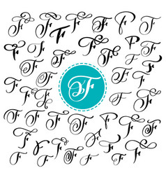 set of hand drawn calligraphy letter f vector image vector image