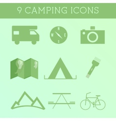 Set of outdoor summer camping icons rv motorhome vector