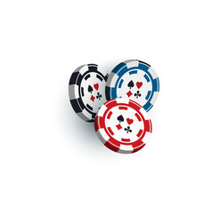 set of three gambling casino poker chips vector image