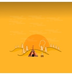 Tent in the mountain landscape outline vector image