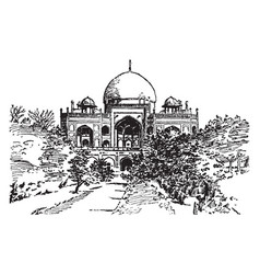Tomb of sultan humayun vintage vector