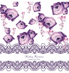 Vintage Watercolor Roses flowers vector image vector image