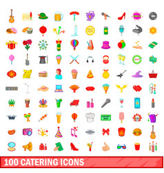100 catering icons set cartoon style vector