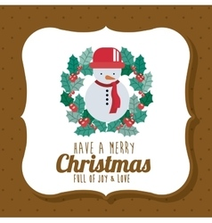 Snowman and wreath of merry christmas design vector