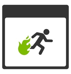Fire Evacuation Man Calendar Page Flat Icon vector image