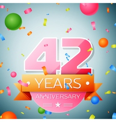 Forty two years anniversary celebration background vector image