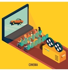 People watching movie in cinema theater vector