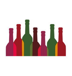 Color background with set of liquor bottles vector