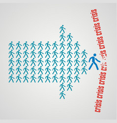 Teamwork concept - the crowd of workers follows vector