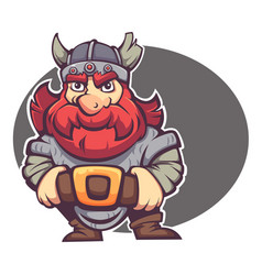 Strong hero image of fantasy dwarf or viking for vector