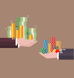 Exchange of cash money and casino chips vector