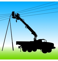 Electrician making repairs at a power pole vector