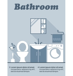 Bathroom flat interior decor infographic vector