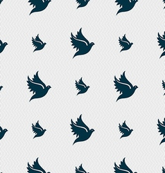 Dove icon sign seamless pattern with geometric vector