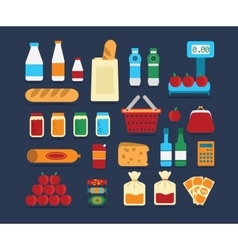 Big set of food products vector