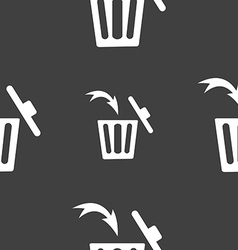 Recycle bin sign icon seamless pattern on a gray vector