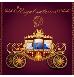 Royal golden carriage and emblem of a lion vector