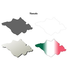 Tlaxcala blank outline map set vector