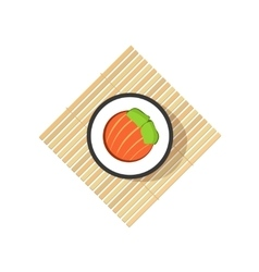 Sushi roll with abstract vegetables salmon vector