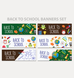 Back to school set of banners template with space vector