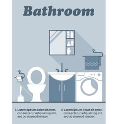 Bathroom flat interior decor infographic vector image