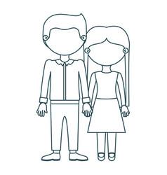Blue contour faceless couple in formal suit taken vector