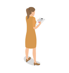 businesswoman standing back and writing on tablet vector image vector image