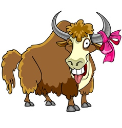 Cartoon bison with a bow on the horn winks vector