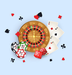 Casino banner with tokens roulette wheel cards vector