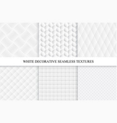 collection of seamless white decorative textures vector image vector image