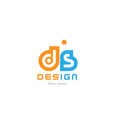 Ds d s orange blue alphabet letter logo vector