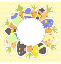 Easter eggs and carrots pattern on a yellow vector image vector image
