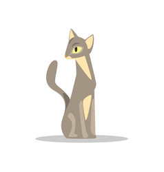 elegant short-haired cat with gray-beige color and vector image