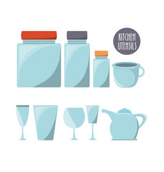 Flat kitchen utensils glass and glass jars vector