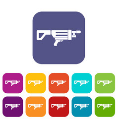 Game gun icons set flat vector