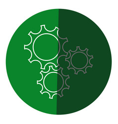 Gear teamwork wheel mechanism power icon circle vector