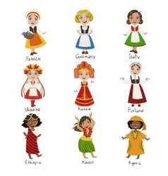 Girls in national costumes set vector