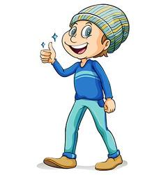 Happy man showing his thumb vector image vector image