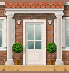 house entrance with columns vector image vector image