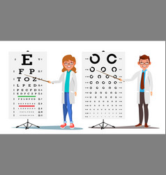 Ophthalmology doctor set female male vector