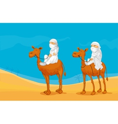 People riding a camel vector